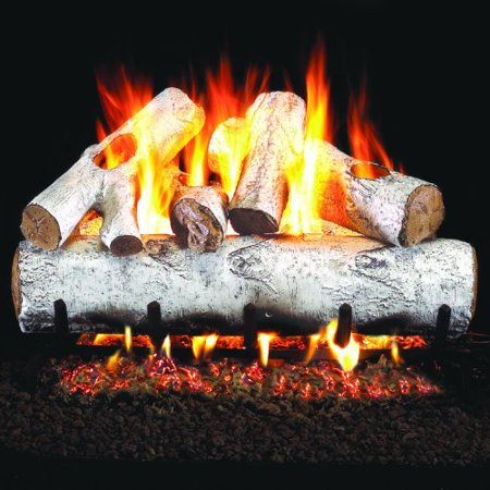Peterson Real Fyre 18-inch White Birch Log Set With Vented Natural Gas Ansi Certified G46 Burner - Variable Flame Remote