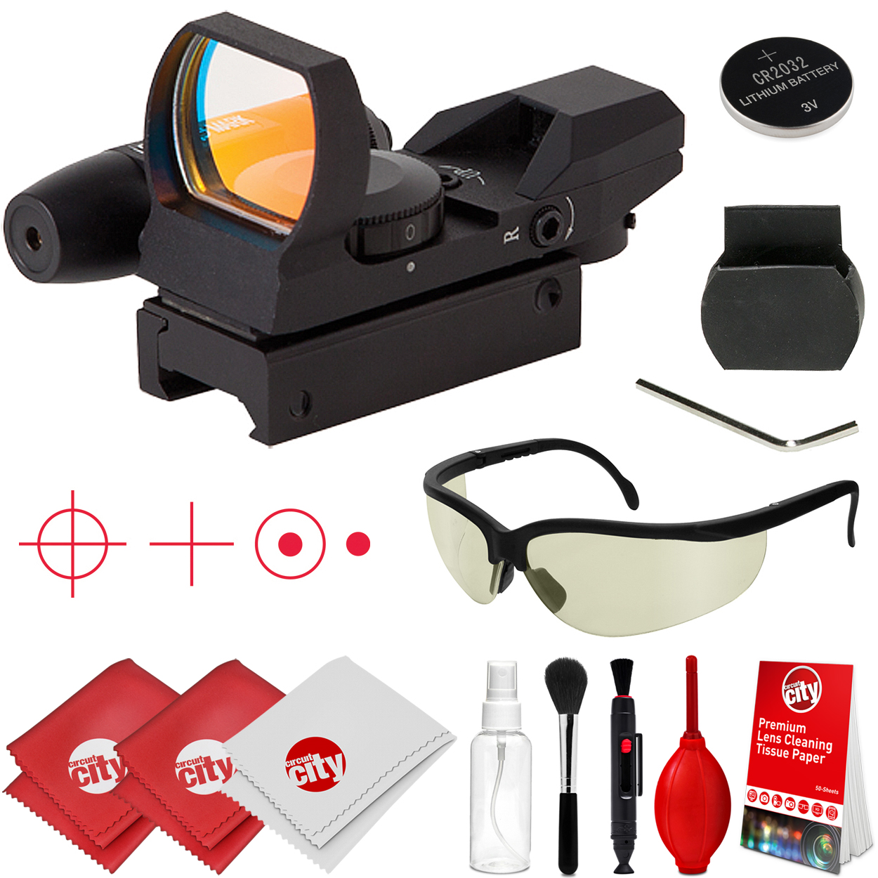 Sightmark Laser Dual Shot Reflex Rifle Sight with Tinted Ballistic Glasses and Optical Cleaning Kit (SM13002)