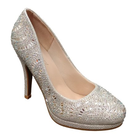 dfe43d9b5a5 Forever - Delicacy Women's Cassie 31 Silver Glitter\Rhinestone ...