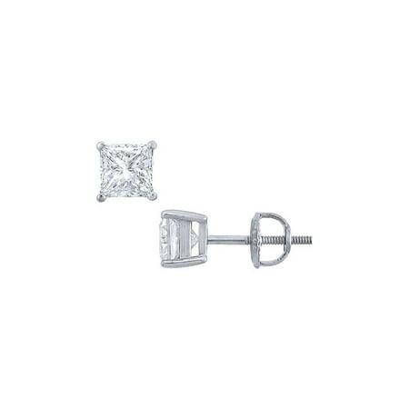 Jewelry Platinum Princess Cut Diamond Stud Earrings 1.50 CT. TW. - image 1 de 1