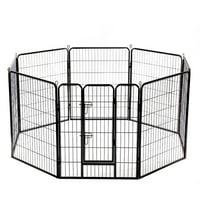 "32"" 8 Panel Folding Metal Dog Exercise Fence Heavy Duty Pet Playpen"