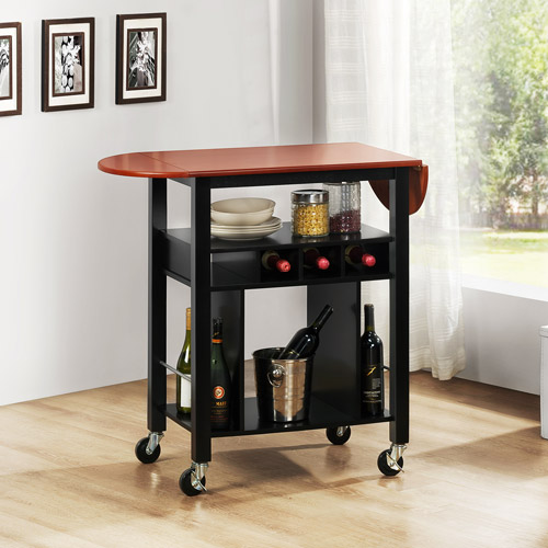 Aeden Oak MDF Wood Top Kitchen Cart, Black