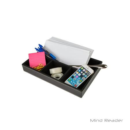 Faux Leather Desk - Mind Reader Desk Supplies Organizer For Letters, Pens, Pencils, Phone and Desk Accessories, 4 Compartments, Faux Leather