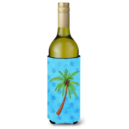 Palm Tree Blue Polkadot Wine Bottle Beverge Insulator Hugger BB8166LITERK Palm Tree Wine