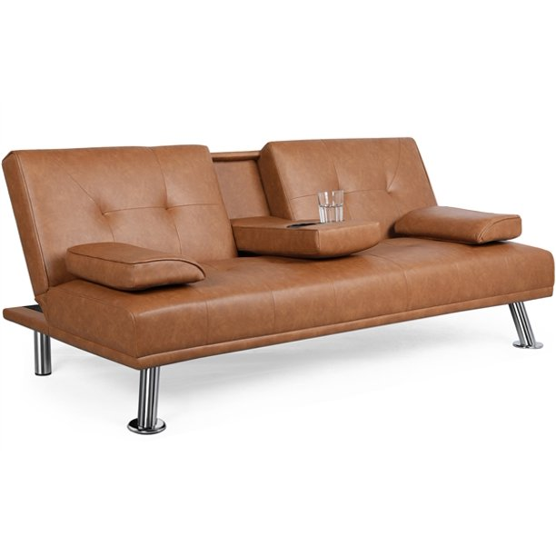 Topeakmart Modern Faux Leather Futon, Brown Fabric Leather Sofa Bed