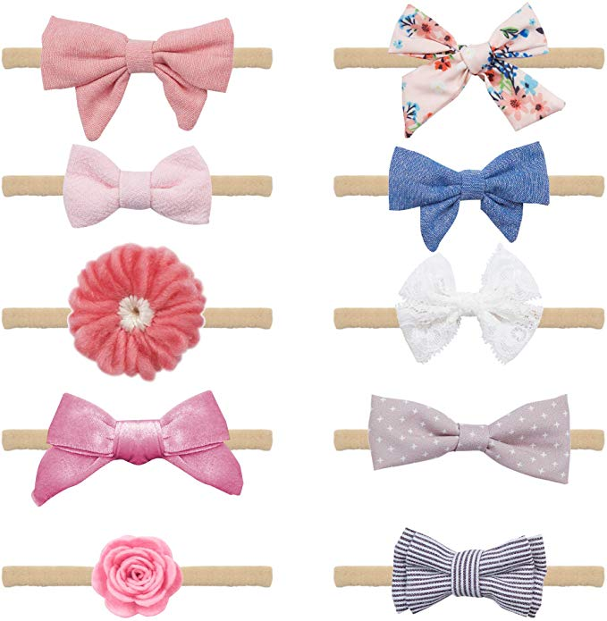 40 Hair Clips Hair Bows For Toddler Baby Girl In Pink Kitty Gift Box