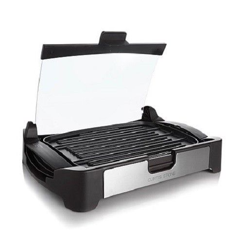 Curtis Stone Nonstick Reversible Grill/Griddle with Glass...