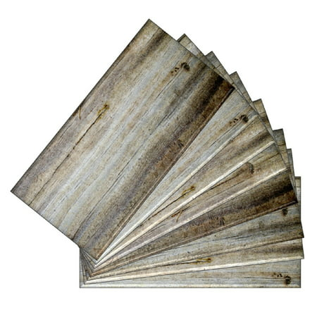 SkinnyTile 04405 Peel and Stick Wood Plank Shades 6 in. x 3 in. Glass Wall Tile (48-Pack) ()
