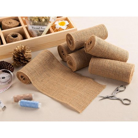 Burlap Fabric Roll - 8-Pack 4.7-Inch Brown Burlap Ribbon for Crafts, 2 Yards Each - image 2 de 4