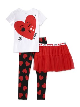 "Valentine's Day ""Be Mine"" Graphic Tee & Ruffle Skirt & Heart Print Legging, 3-Piece Outfit Set (Little Girls & Big Girls)"