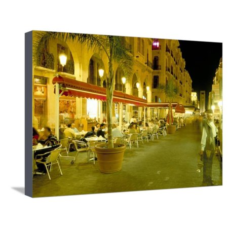 Outdoor Restaurants at Night in Downtown Area of Central District, Beirut, Lebanon, Middle East Stretched Canvas Print Wall Art By Gavin (Best Restaurants In Utc Area)