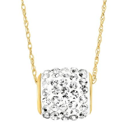 14k Roller - Crystal Roller Ball Pendant Necklace in 14kt Gold