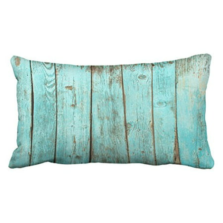 WinHome Decorative Turquoise Wood Teal Barn Wood Weathered Beach Pillow Cover for Sofa or Bedroom Size 20x30 inches Two Side ()