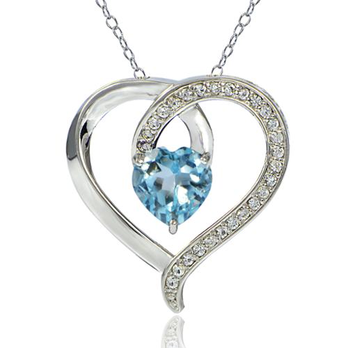 Glitzy Rocks  Sterling Silver Blue and White Topaz Open Heart Necklace