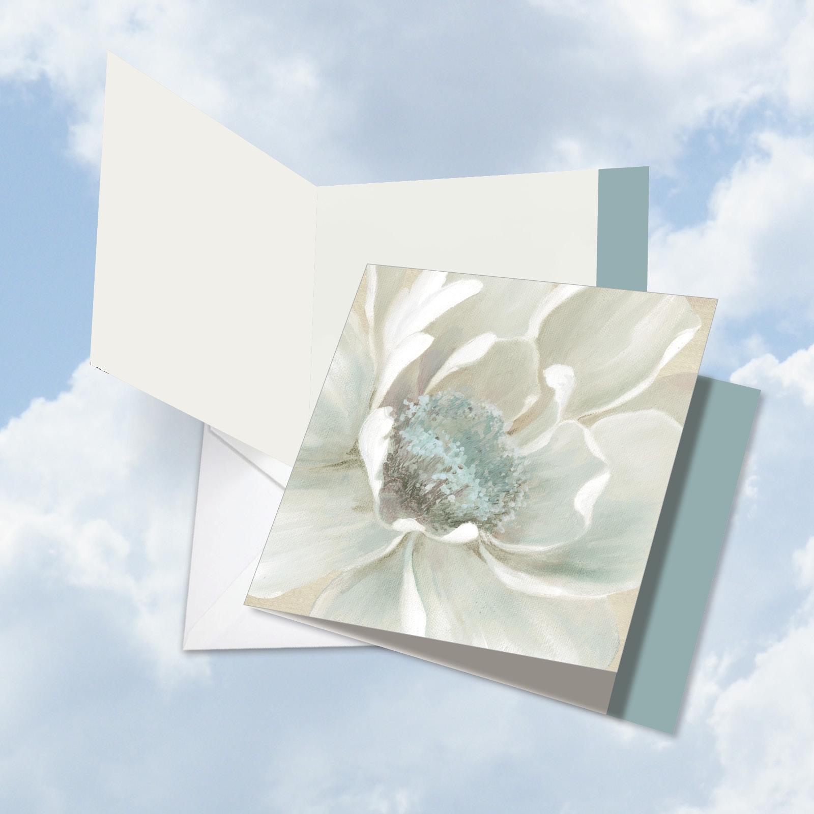 JQ4611DTTG Jumbo  Teacher Thank You Greeting Card: 'Peaceful Petals' with Envelope (Big Size: 8.5+ x 11+)