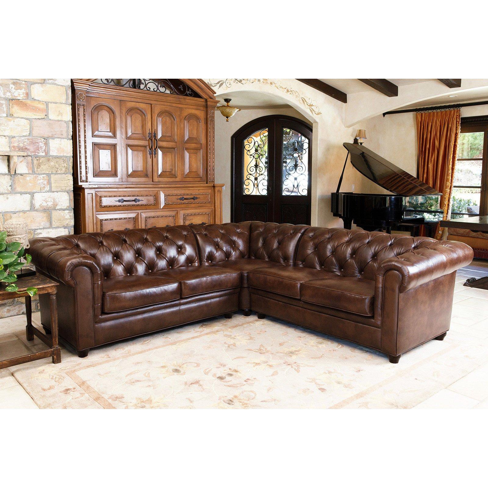 Abbyson Tuscan Top Grain Leather 3 Piece Sectional Sofa