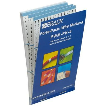Brady PWM-PK-4 B-500 Repositionable Vinyl Cloth, Black on White Porta-Pack Wire Marker, Legend