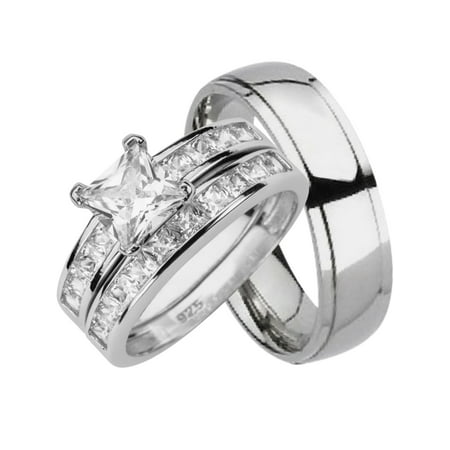 643b8f9490e5aa LaRaso & Co - His and Hers Matching Wedding Ring Sets Sterling Silver Titanium  Bands for Him Her 14/8 - Walmart.com