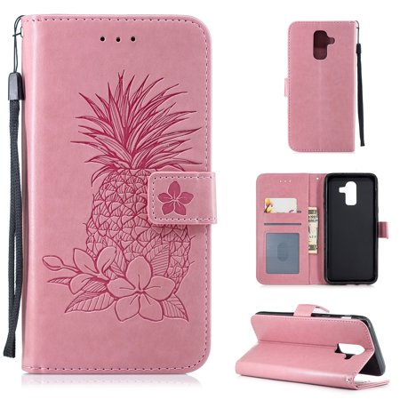 Galaxy J8 2018 Case, Allytech Premium PU Leather Pineapple Embossed Retro Type Slim Magnetic Book Design Hand Wrist Detachable Cards Slots Wallet Case Cover for Samsung Galaxy J8 2018, Pink