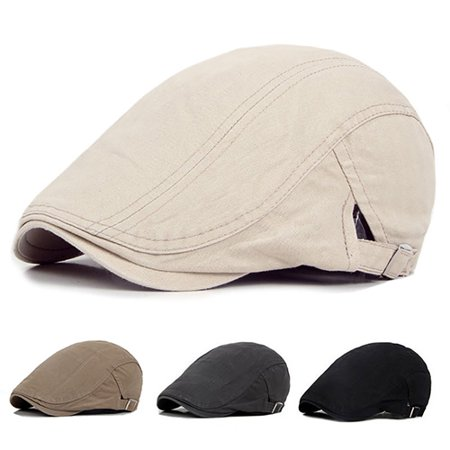 Micelec Men Casual Classic Solid Color Flat Cabbie Newsboy Ivy Hat Cotton Sun Beret Cap - Black Cabbie Hat