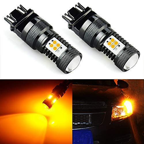 JDM ASTAR Extremely Bright 3000 Lumens High Power 3056 3156 3057 3157 4157 LED Bulbs with Projector, Amber Yellow