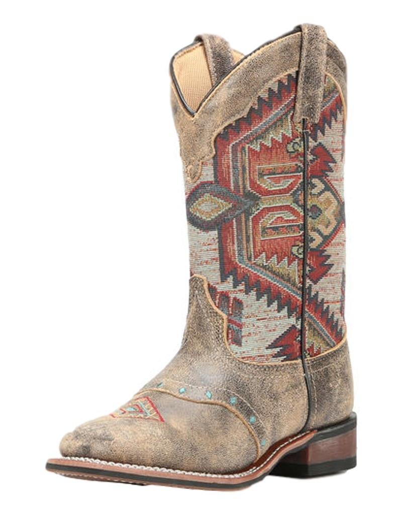 Laredo Western Boots Womens Scout Aztec Square Toe Stockman Brown 5647 by Laredo
