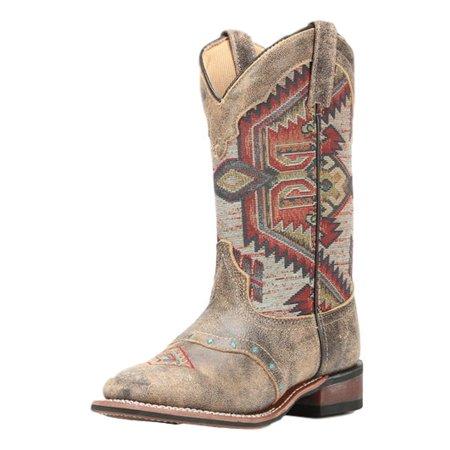 Laredo Boots Women - Laredo Western Boots Womens Scout Aztec Square Toe Stockman Brown 5647