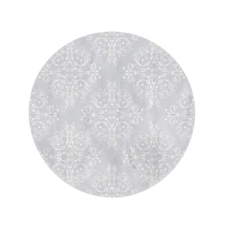 NUDECOR 60 inch Round Beach Towel Blanket Endless Pattern Damask in White and Silver Grey Colors Travel Circle Circular Towels Mat Tapestry Beach Throw - image 2 de 2