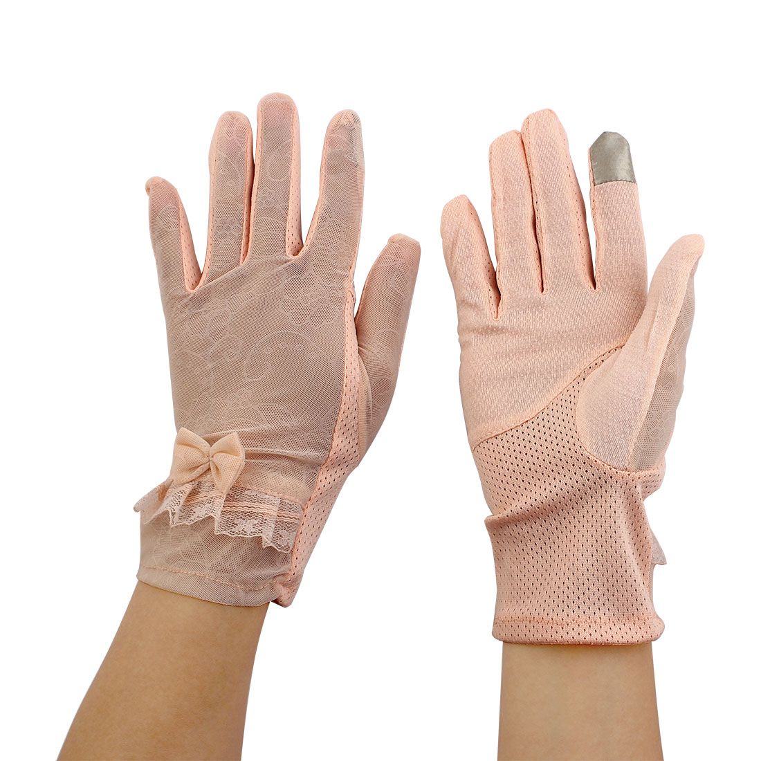 Lady Travel Driving Cycling Bowknot Decor Sun Resistant Gloves Pale Orange Pair