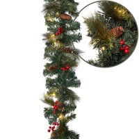 Aurio Christmas Garland with Lights, 9 ft by 10 in Spruce with Pine Cones and Red Berries, and 50 Warm White LEDs