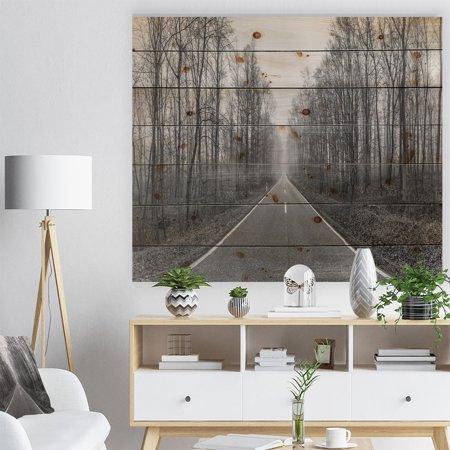 DESIGN ART Designart 'Black and White Freeway in Forest' Landscape Print on Natural Pine Wood - (Black Forest Wood)