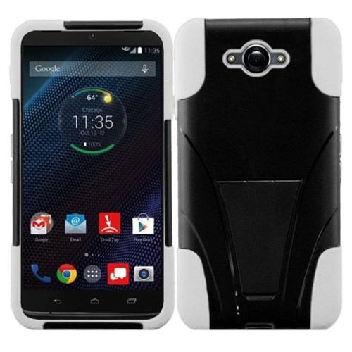 Insten Hard Hybrid Rugged Shockproof Case with Stand For Motorola Droid Turbo - Black/White