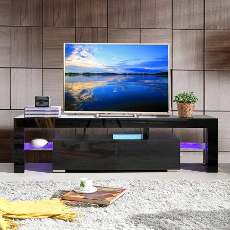 Uenjoy High Gloss  TV Stand Unit Cabinet w/LED Shelves 2 Drawers Console Furniture,Black