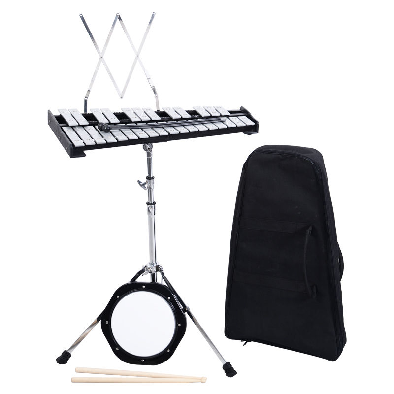 "GHP 30-Notes Percussion Glockenspiel Bell Kit with Adjustable Stand & 8"" Practice Pad"