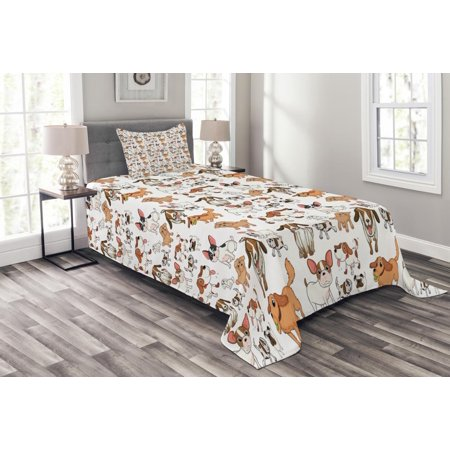 Dog Lover Bedspread Set, Cartoon Style Chihuahua Terrier Bulldog and Beagle Funny Characters Purebred Pets, Decorative Quilted Coverlet Set with Pillow Shams Included, Multicolor, by Ambesonne ()
