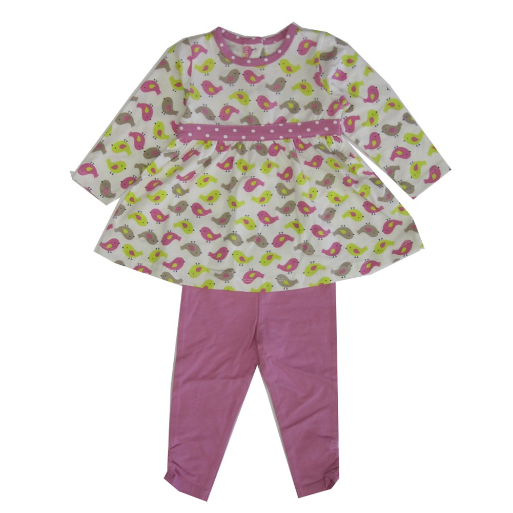 Little Me Baby Girls Pink Green Chick Pattern 2 Pc Legging Outfit 24M