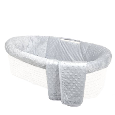 Tadpoles Minky Dot Moses Basket Bedding Only Set, Grey