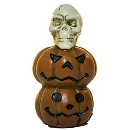 2 Inch Halloween Spooky Fantasy Garden Cemetery Figurines (Pumpkins/Skull), Unique fantasy garden accessory By Ganz - Halloween 2 Pumpkin Skull