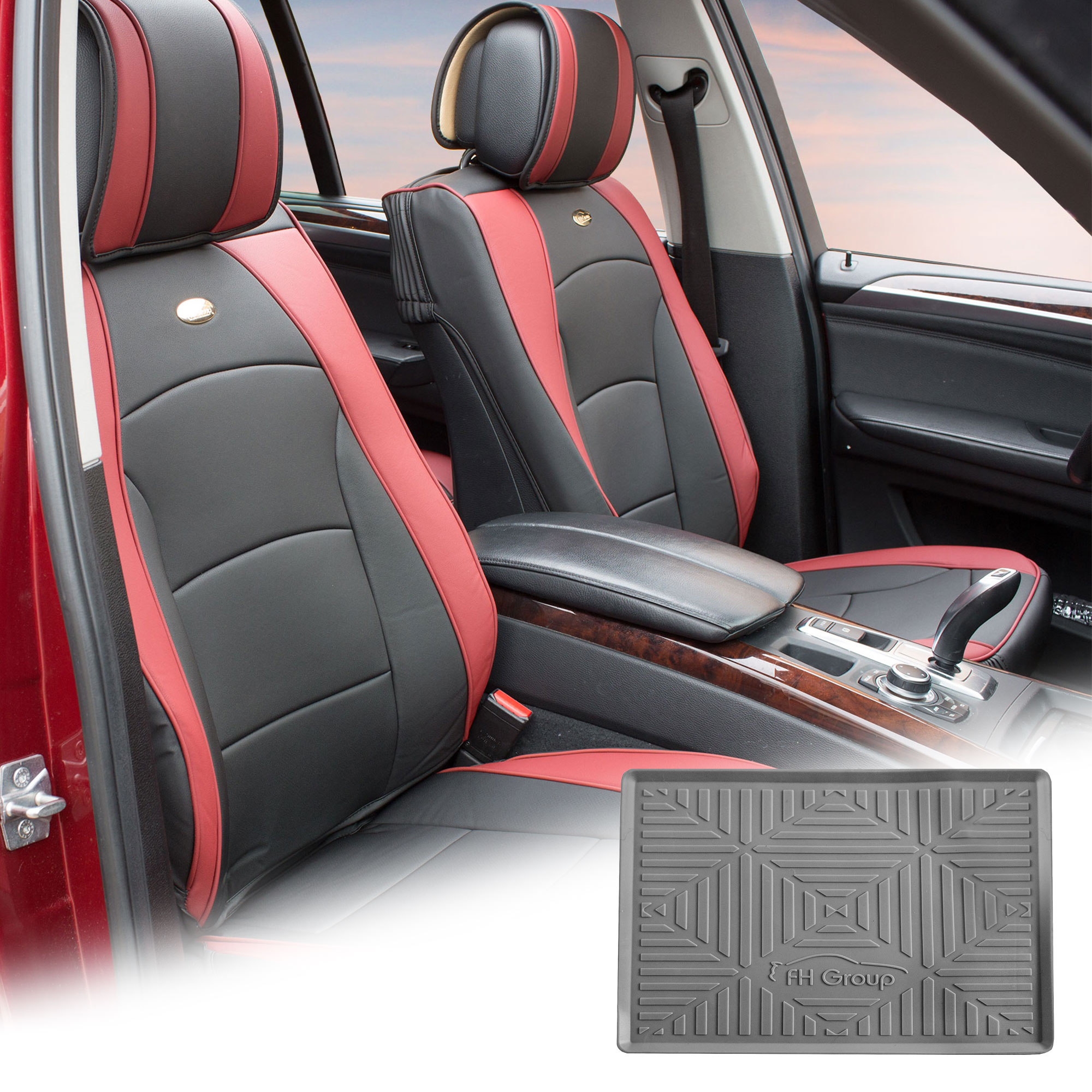 FH Group Burgundy Black PU Leather Front Bucket Seat Cushion Covers for Auto Car SUV Truck Van with Gray Dash Mat Combo