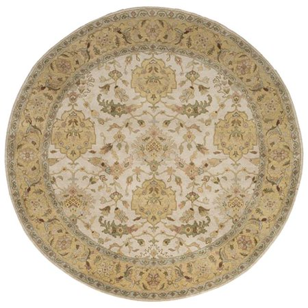 Due Process Stable Trading Mirzapur Shield Ivory & Light Gold Round Area Rug, 12 x 12 ft.