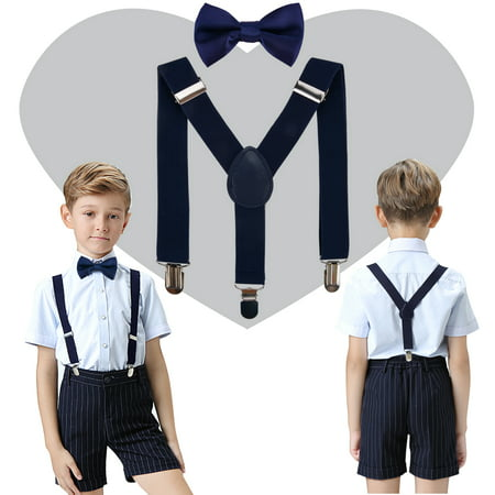 Kids Boys Elastic Suspender Metal Clip Y Back Adjustable Suspenders Bow Tie Set for Wedding Party (White Bow Tie And Suspenders)