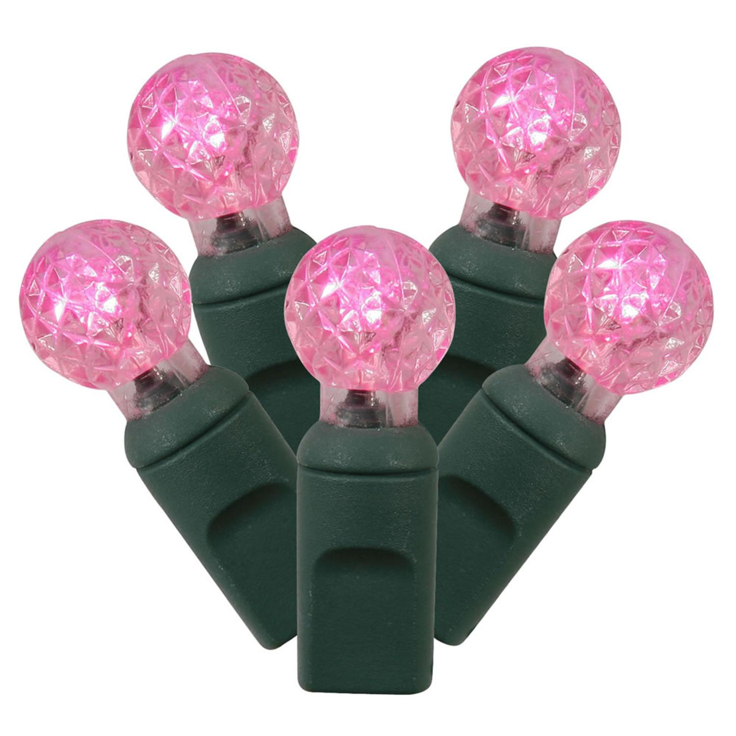Set of 50 Pink Commercial Grade LED G12 Berry Christmas Lights - Green Wire