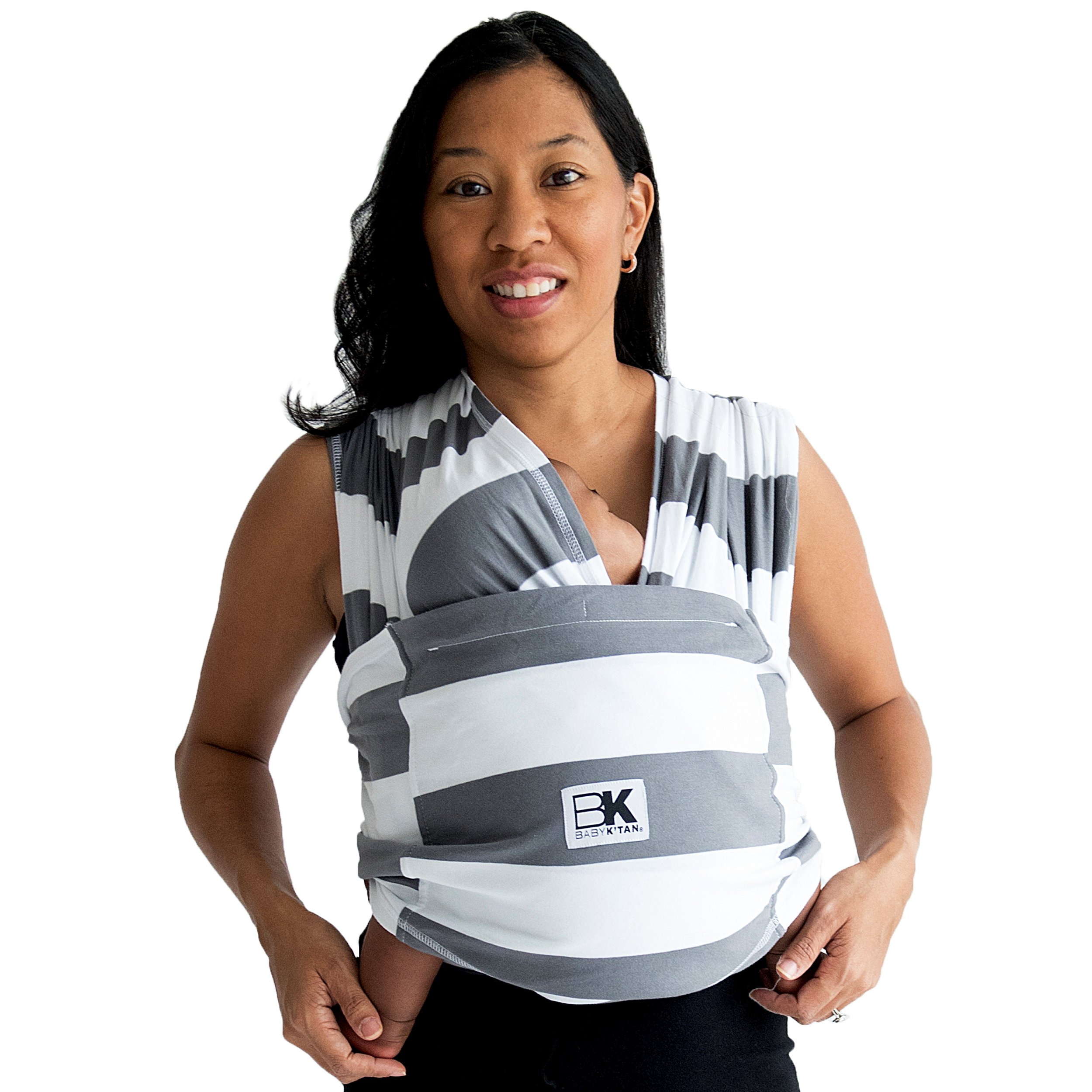 Baby K'tan PRINT Baby Carrier in Charcoal Stripe Small by Baby K%27Tan