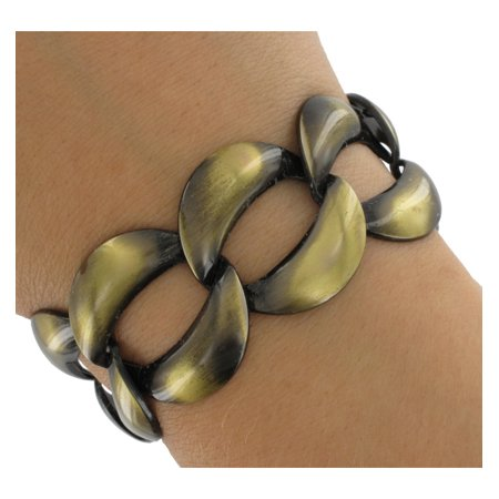 Brass Tone Wide Chain Link Extra Long Bracelet 8.5
