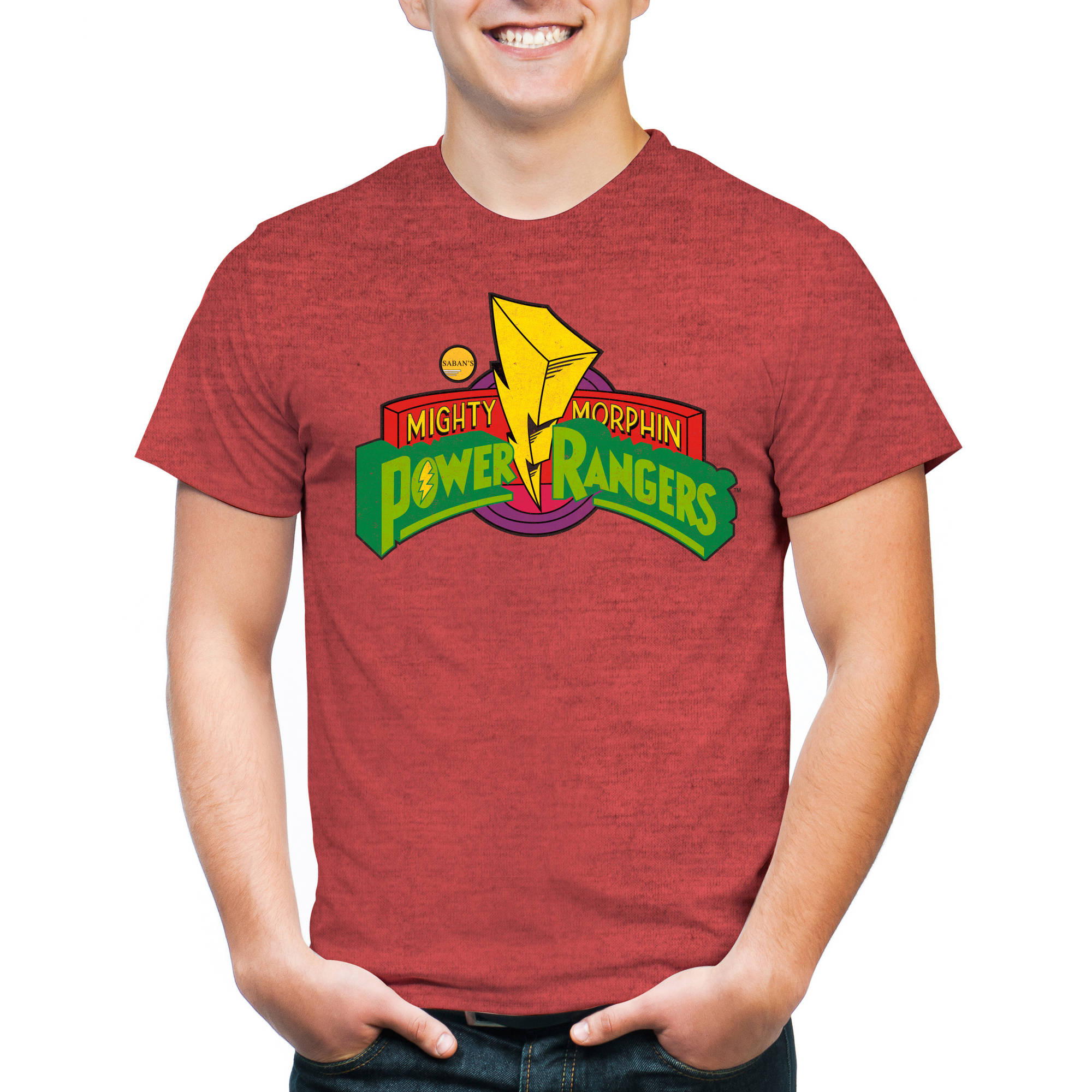 Saban's Mighty Morphin Power Rangers Classic Logo Men's Short Sleeve Graphic T-Shirt