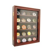 DECOMIL - Lockable 30 Military Challenge Coin, Poker Chip, Sports Coin Display Case Cabinet, Glass Door, Coin30-CHR