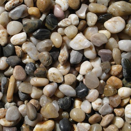 PMS0510 Polished Gravel, Mixed, 5 Pounds, 3/8-Inch, Pebble mulch in interior or exterior garden beds By Exotic