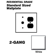 Leviton 88078 Wallplate 2-Gang 1-Duplex 1-Cable .406 Standard Size Plastic - White