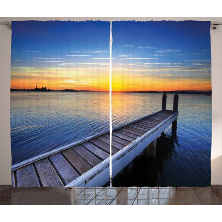 Lake Curtains 2 Panels Set, Tranquil Summer View of Setting Sun on the Horizon of Lake Macquarie in Belmont, Window Drapes for Living Room Bedroom, 108W X 63L Inches, Blue Orange Umber, by Ambesonne