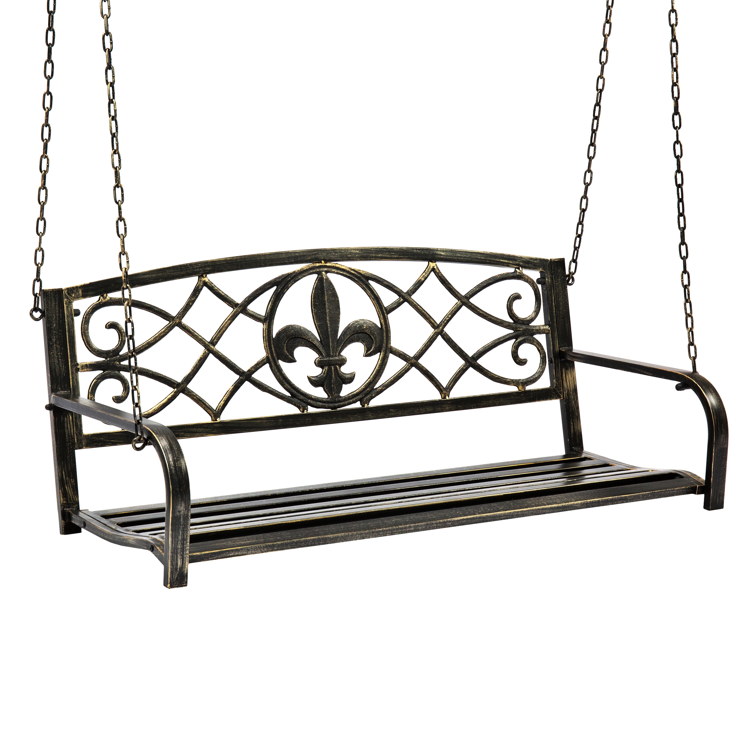Best Choice Products Outdoor Furniture Metal Fleur-De-Lis Hanging Patio Porch Swing Bronze by Best Choice Products